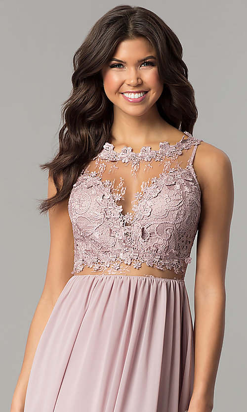 Image of long high-neck prom dress with lace bodice. Style: SOI-M17343 Detail Image 1