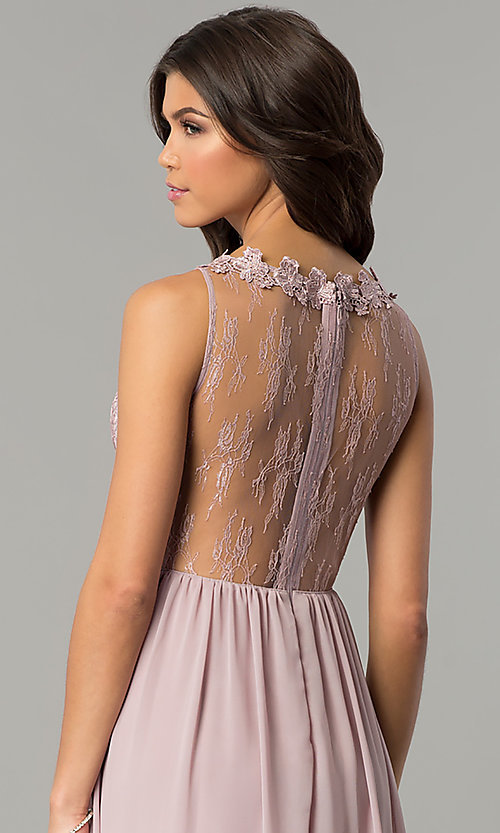 Image of long high-neck prom dress with lace bodice. Style: SOI-M17343 Detail Image 2