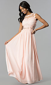 Image of long prom dress with lace applique. Style: SOI-D15669 Front Image
