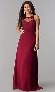 Image of illusion and lace bodice long chiffon prom dress. Style: SOI-D16578 Front Image