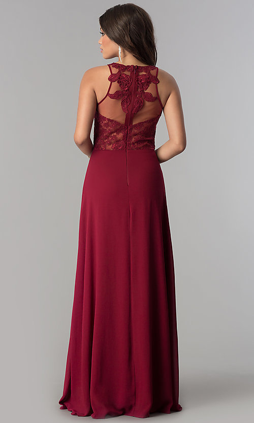 Image of illusion and lace bodice long chiffon prom dress. Style: SOI-D16578 Back Image