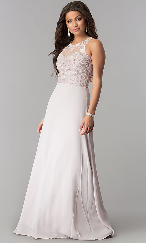 Image of illusion and lace bodice long chiffon prom dress. Style: SOI-D16578 Detail Image 3