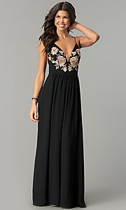 Long Open-Back Prom Dress with Embroidered Bodice