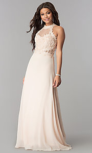 Image of illusion lace-bodice long chiffon formal prom dress. Style: SOI-D16587 Detail Image 1
