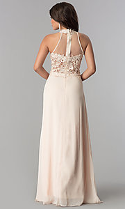 Image of illusion lace-bodice long chiffon formal prom dress. Style: SOI-D16587 Back Image
