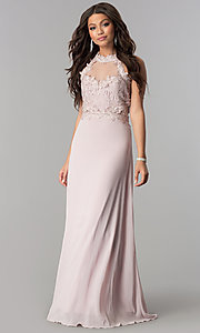 Image of illusion lace-bodice long chiffon formal prom dress. Style: SOI-D16587 Front Image