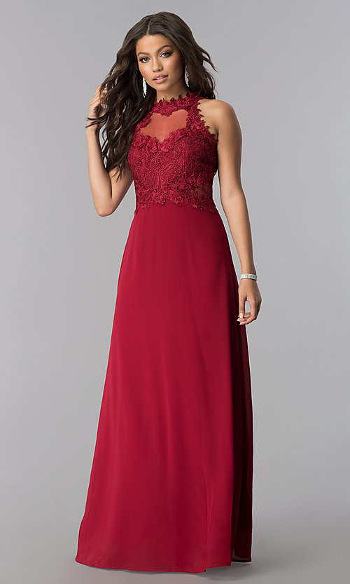 Image of illusion lace-bodice long chiffon formal prom dress. Style: SOI-D16587 Detail Image 3