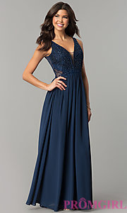 Long Chiffon Prom Dress with Illusion-Lace V-Back