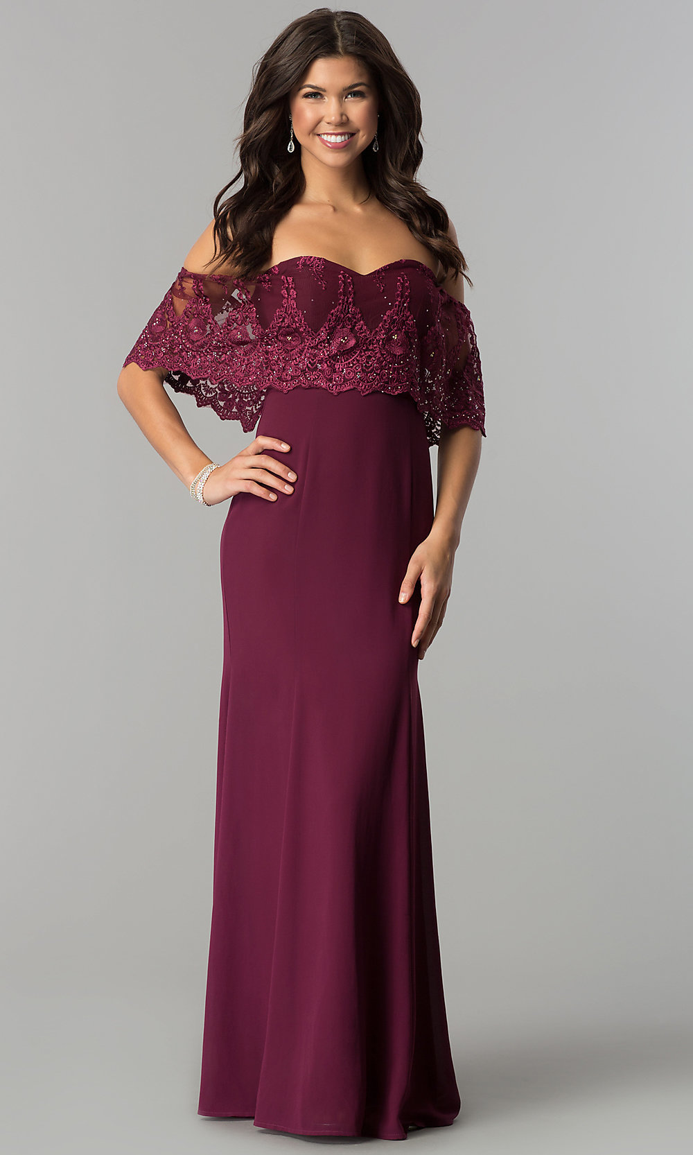 9b002f397683 Image of off-shoulder lace-flounce chiffon prom dress. Style  SOI-. Tap to  expand