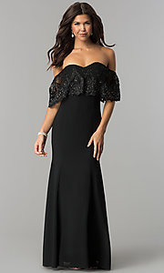 Long Off-Shoulder Lace-Flounce Chiffon Prom Dress