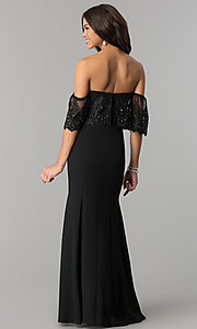 Image of off-shoulder lace-flounce chiffon prom dress.  Style: SOI-M17038 Back Image