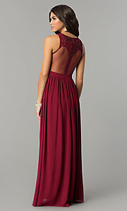 Image of sequin-lace long chiffon formal prom dress. Style: SOI-M17297 Back Image