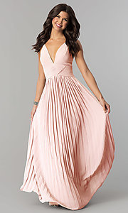 Image of empire-waist long v-neck pleated chiffon prom dress. Style: SOI-D16411 Front Image