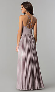 Image of empire-waist long v-neck pleated chiffon prom dress. Style: SOI-D16411 Back Image