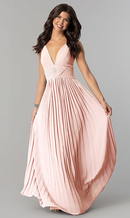 V-Neck Pleated Long Chiffon Prom Dress - PromGirl