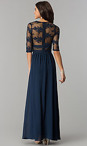 Image of long formal prom dress with low v-neck and sleeves. Style: SOI-D16727 Back Image