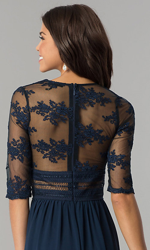 Image of long formal prom dress with low v-neck and sleeves. Style: SOI-D16727 Detail Image 3