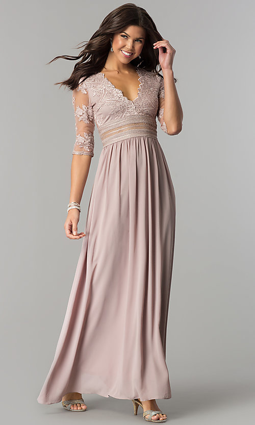 Long Cheap Prom Dress With Sleeves Promgirl