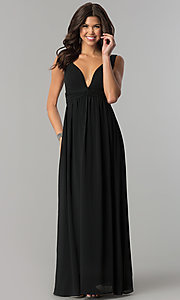 Empire Waist V-Neck Prom Dress