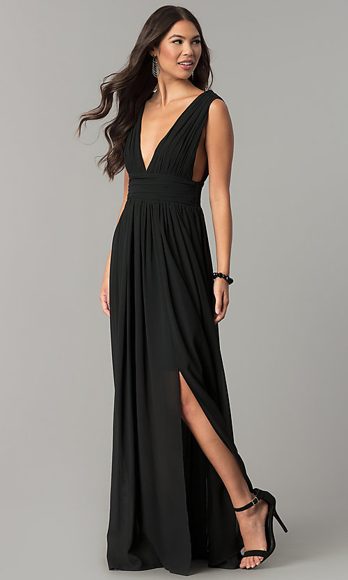 Image of empire-waist chiffon prom dress with low v-neck. Style: SOI-M17409 Detail Image 1