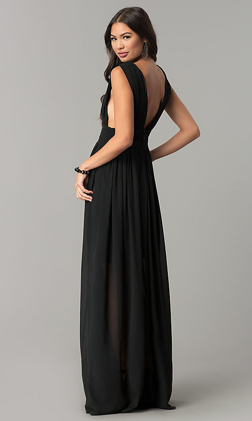 Image of empire-waist chiffon prom dress with low v-neck. Style: SOI-M17409 Detail Image 2