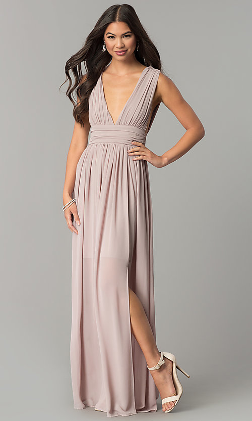 Image of empire-waist chiffon prom dress with low v-neck. Style: SOI-M17409 Front Image