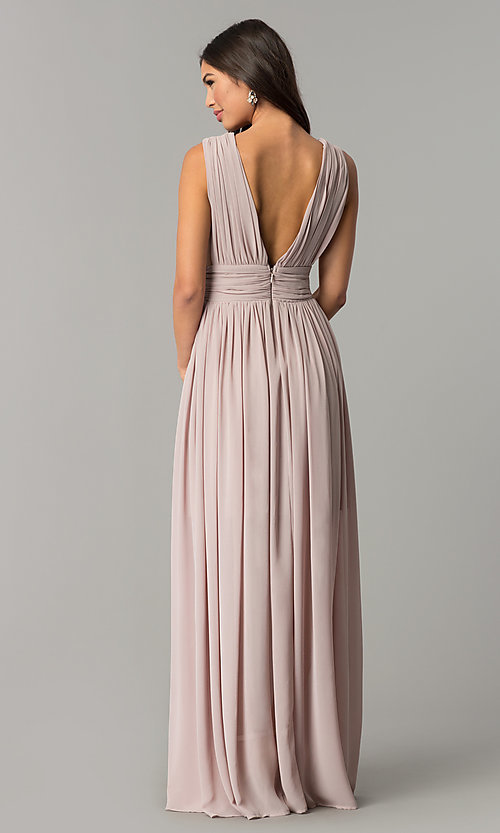 Image of empire-waist chiffon prom dress with low v-neck. Style: SOI-M17409 Back Image