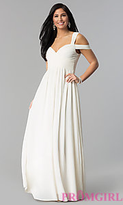 Long Chiffon Cold-Shoulder Prom Dress