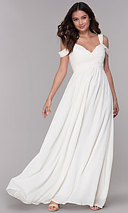 Image of pleated chiffon cold-shoulder formal prom dress. Style: SOI-M17252 Detail Image 3