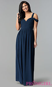Image of pleated chiffon cold-shoulder formal prom dress. Style: SOI-M17252 Detail Image 2