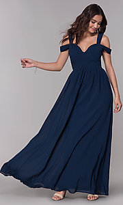Image of pleated chiffon cold-shoulder formal prom dress. Style: SOI-M17252 Front Image