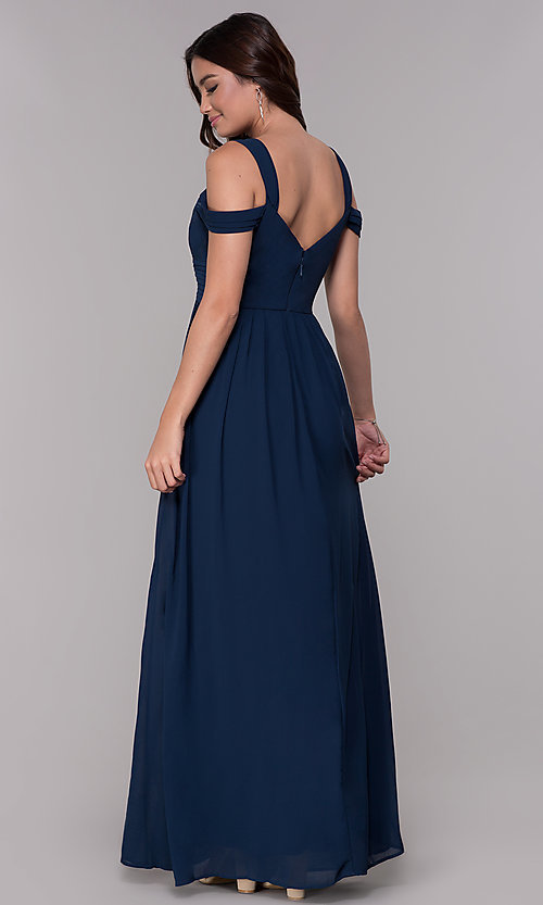 Image of pleated chiffon cold-shoulder formal prom dress. Style: SOI-M17252 Back Image