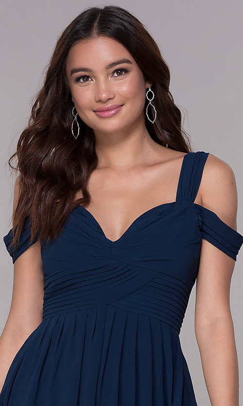 Image of pleated chiffon cold-shoulder formal prom dress. Style: SOI-M17252 Detail Image 1