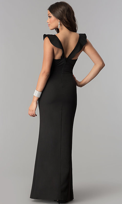 Image of ruffled v-neck long formal prom dress with slit. Style: SOI-D16149 Back Image