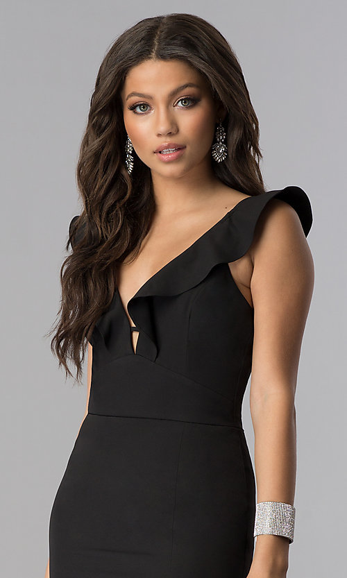 Image of ruffled v-neck long formal prom dress with slit. Style: SOI-D16149 Detail Image 1