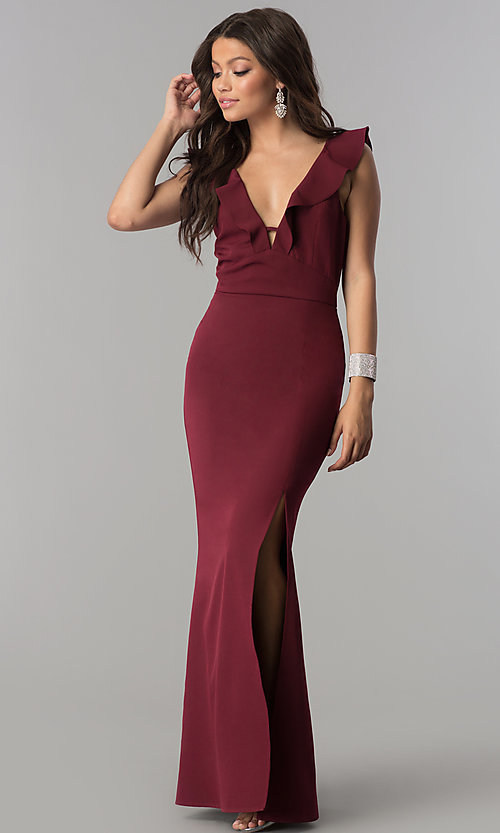 Image of ruffled v-neck long formal prom dress with slit. Style: SOI-D16149 Detail Image 2