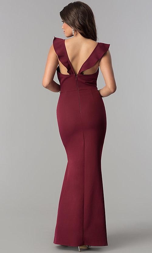 Image of ruffled v-neck long formal prom dress with slit. Style: SOI-D16149 Detail Image 3
