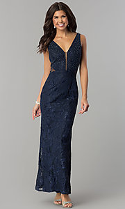 Image of long v-neck prom dress with embroidery. Style: SOI-D16585 Detail Image 1