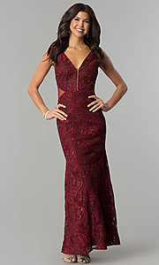 Image of long v-neck prom dress with embroidery. Style: SOI-D16585 Detail Image 3