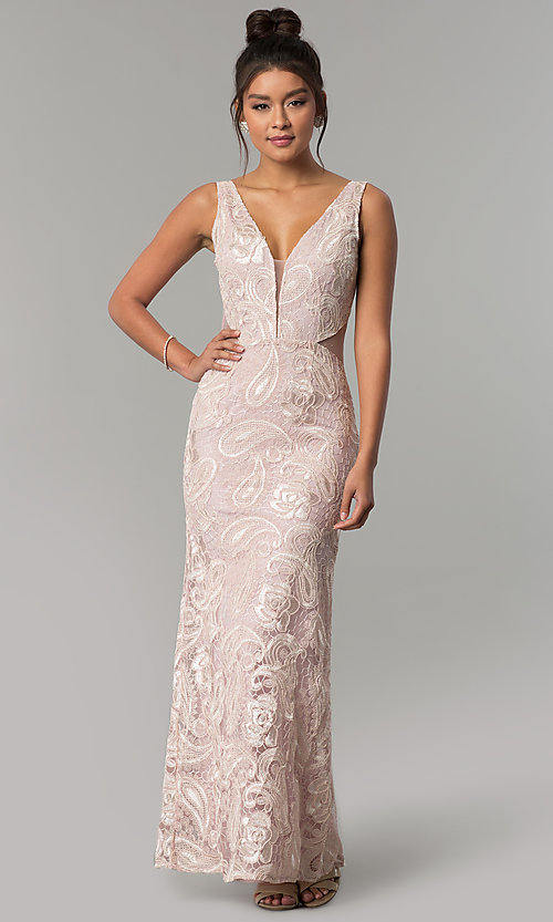 Image of long v-neck prom dress with embroidery. Style: SOI-D16585 Front Image