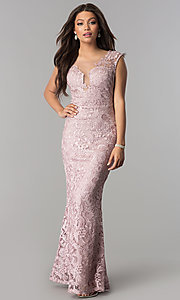 Long Rhinestone-Embellished Illusion-Lace Prom Dress