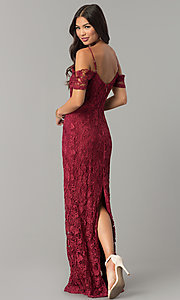 Image of off-the-shoulder jeweled-waist long lace prom dress. Style: SOI-M17300 Back Image