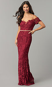 Image of off-the-shoulder jeweled-waist long lace prom dress. Style: SOI-M17300 Front Image