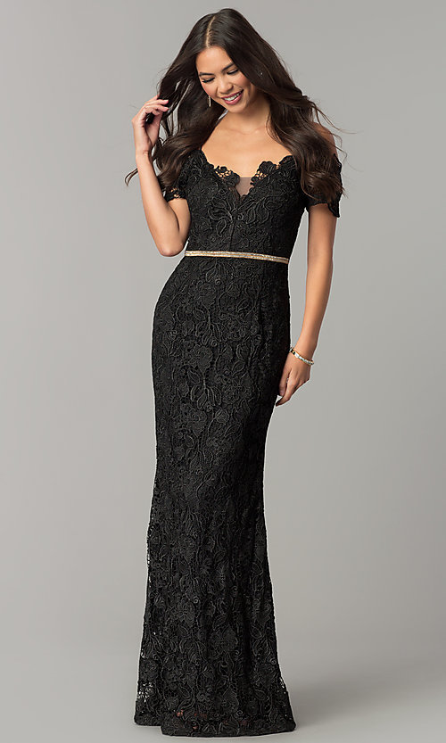 Image of off-the-shoulder jeweled-waist long lace prom dress. Style: SOI-M17300 Detail Image 2