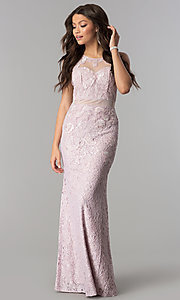 Image of long lace formal prom dress with sheer waist. Style: SOI-D15741 Detail Image 1