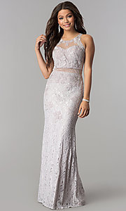 Image of long lace formal prom dress with sheer waist. Style: SOI-D15741 Detail Image 2