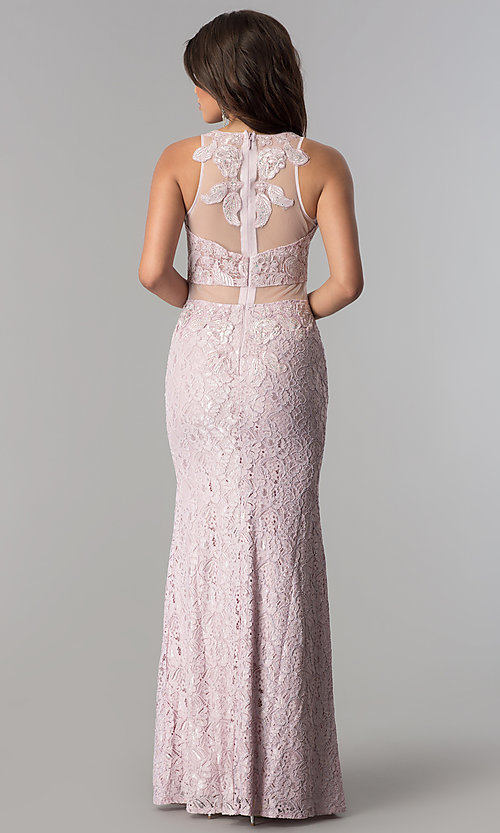 Image of long lace formal prom dress with sheer waist. Style: SOI-D15741 Back Image