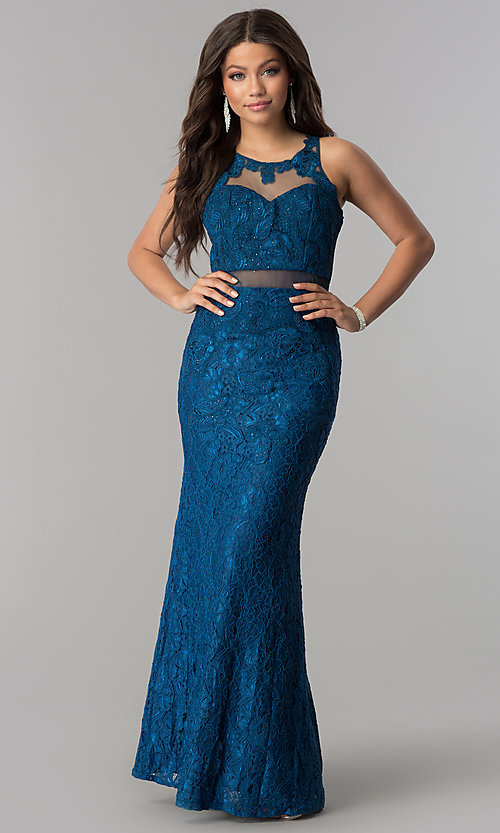Image of long lace formal prom dress with sheer waist. Style: SOI-D15741 Front Image