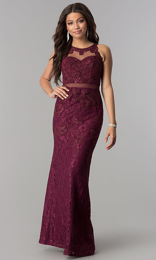 Image of long lace formal prom dress with sheer waist. Style: SOI-D15741 Detail Image 3