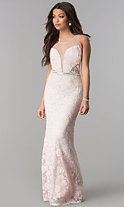 Image of illusion-bodice lace long prom dress with slit. Style: SOI-D16648 Detail Image 1